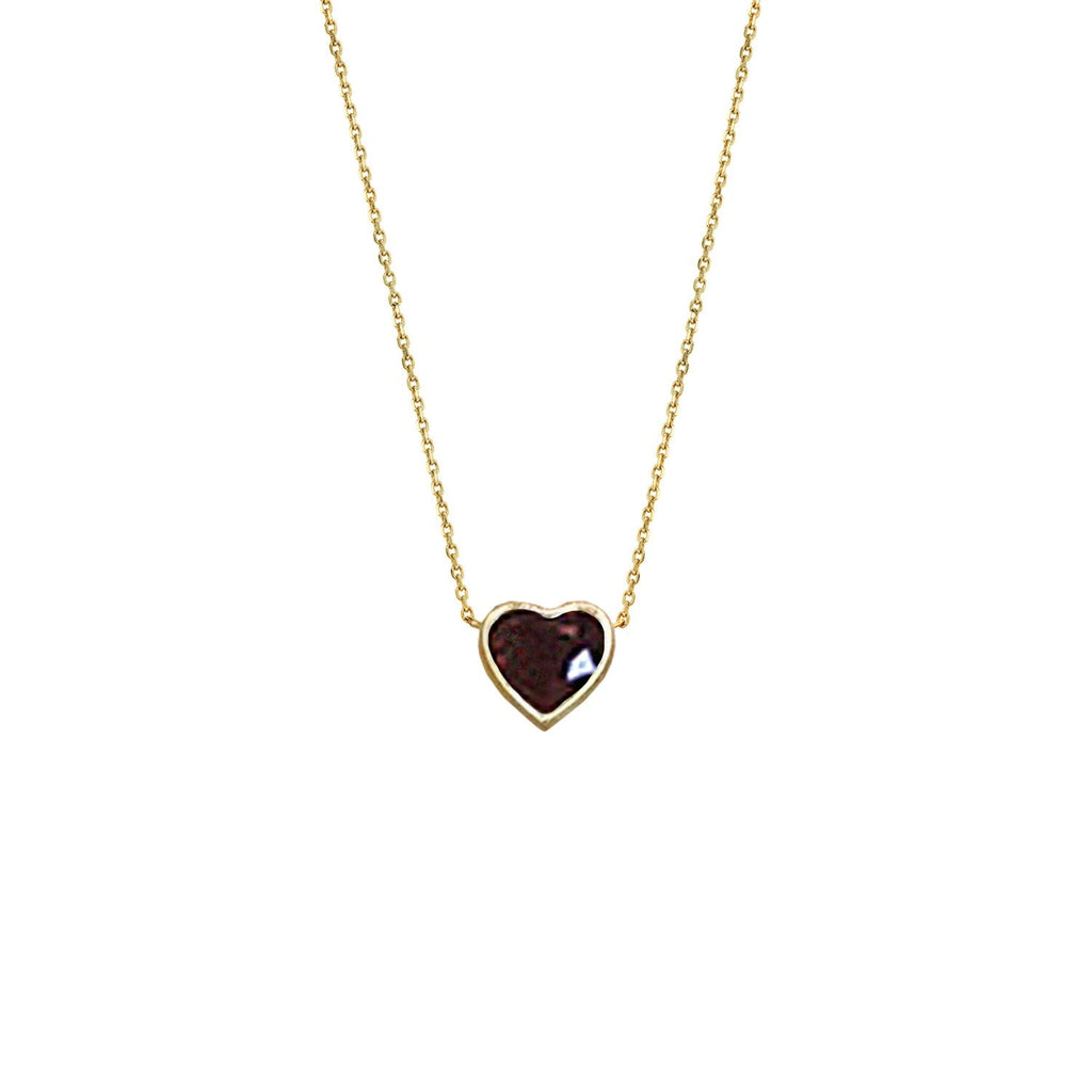 Floating Heart Shaped Ruby Necklace Yellow Gold