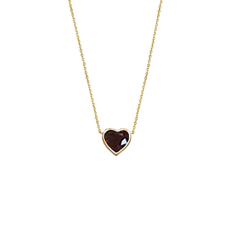 New! Floating Heart Shaped Ruby Necklace