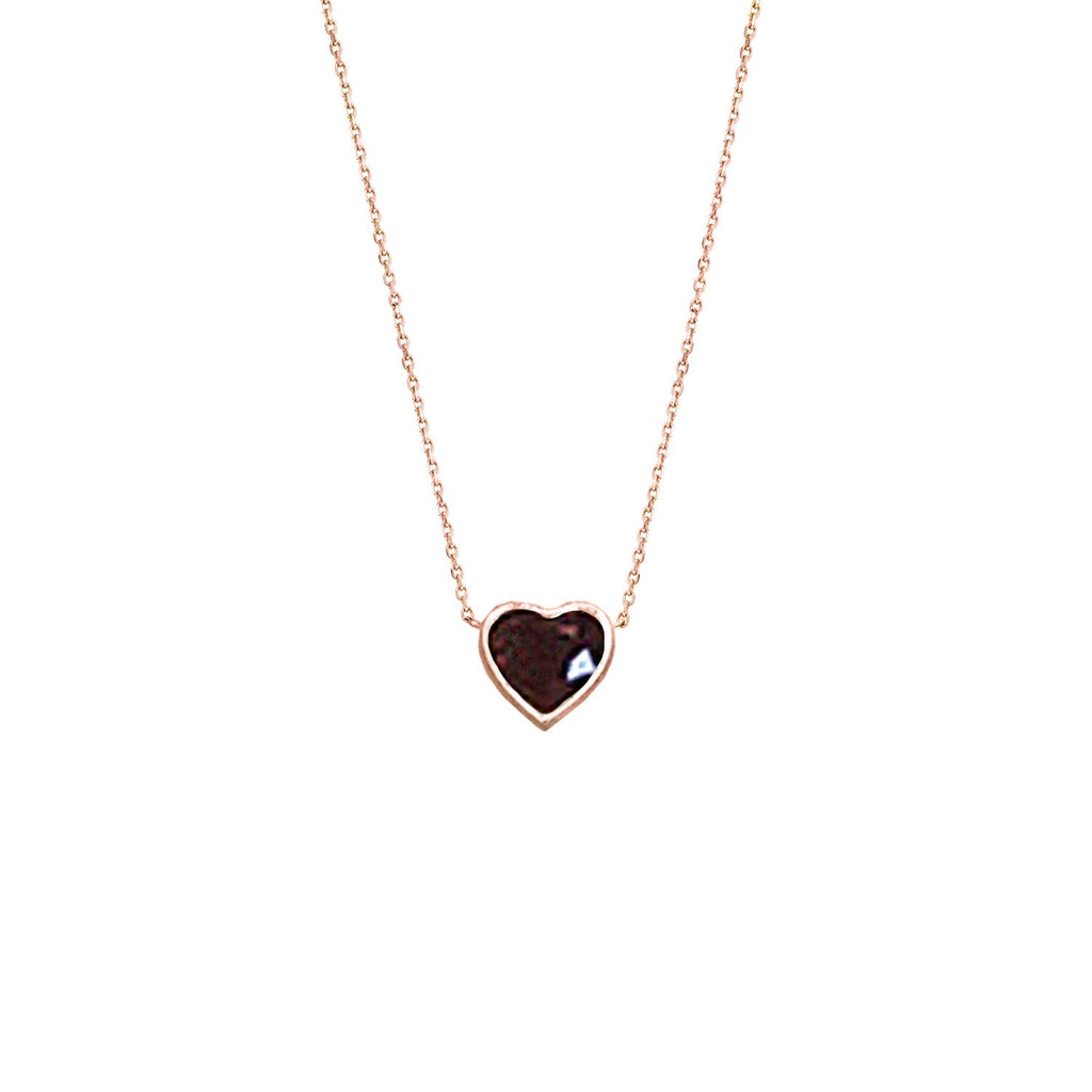 Floating Heart Shaped Ruby Necklace Rose Gold