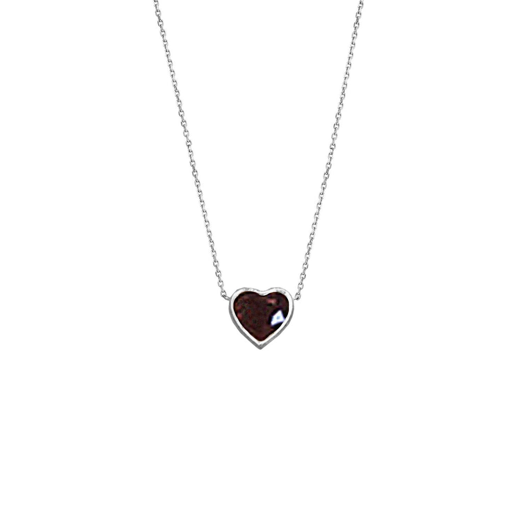 Floating Heart Shaped Ruby Necklace White Gold