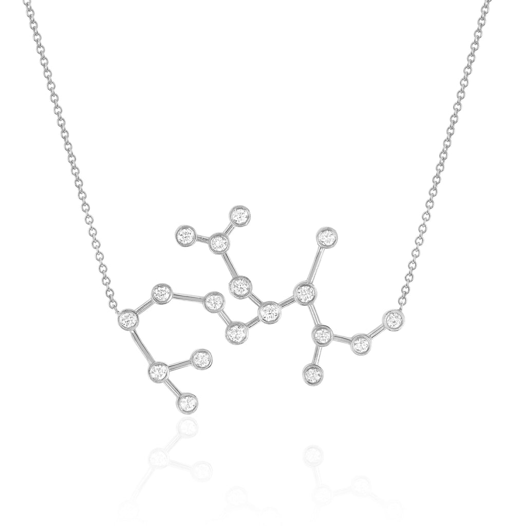 Sagittarius Constellation Necklace White Gold
