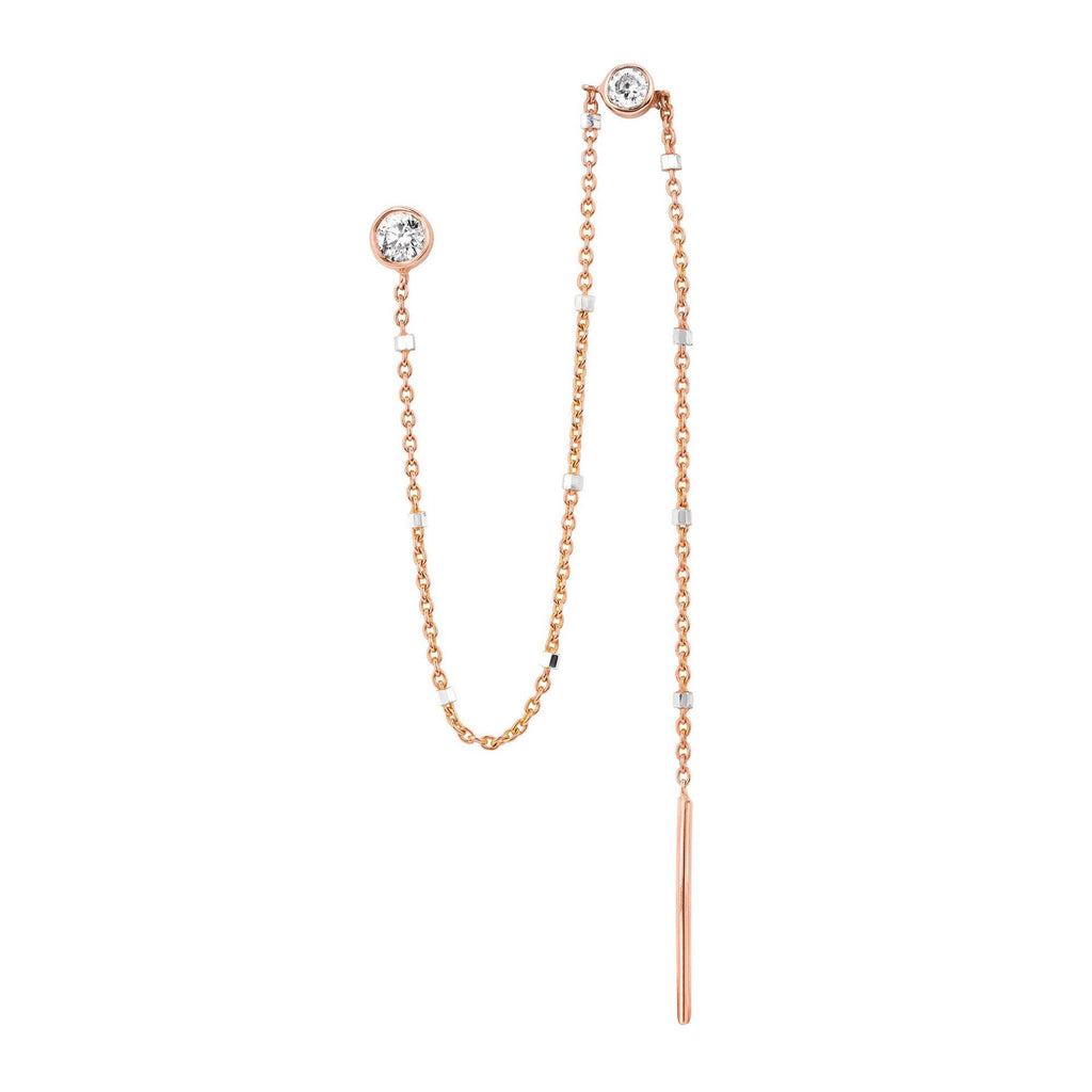 Single Diamond Thread Through Twinkle Earring Rose Gold