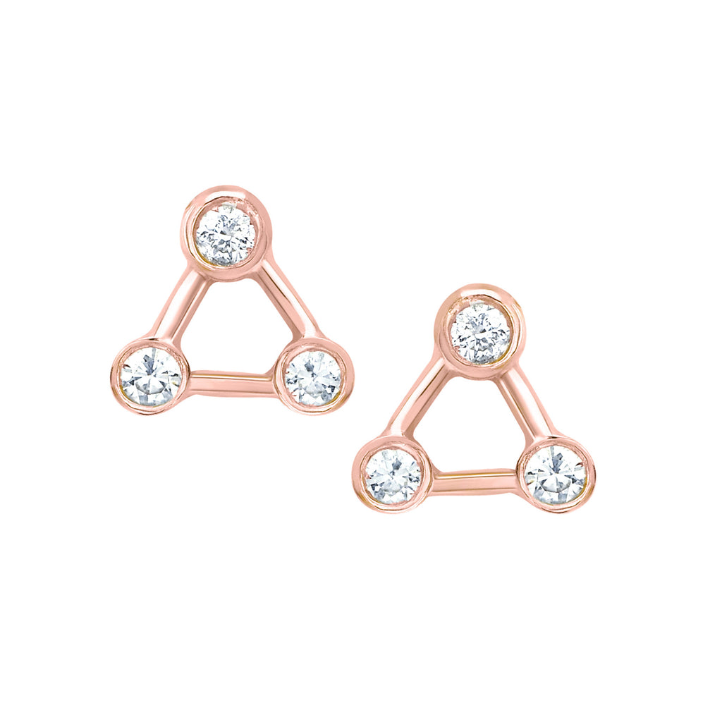 Mini Summer Triangle Diamond Constellation Earrings Rose Gold