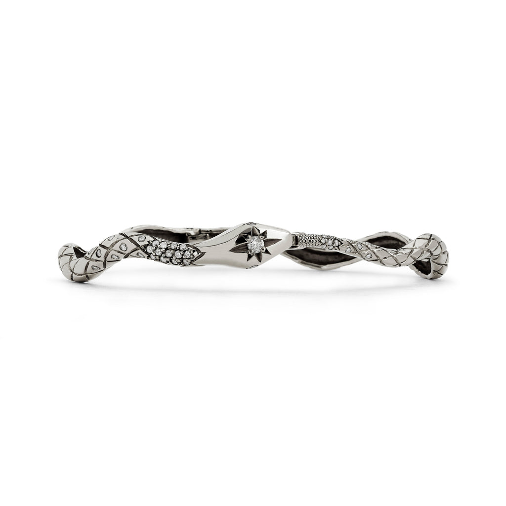 Kundalini Diamond Snake Bracelet White Gold