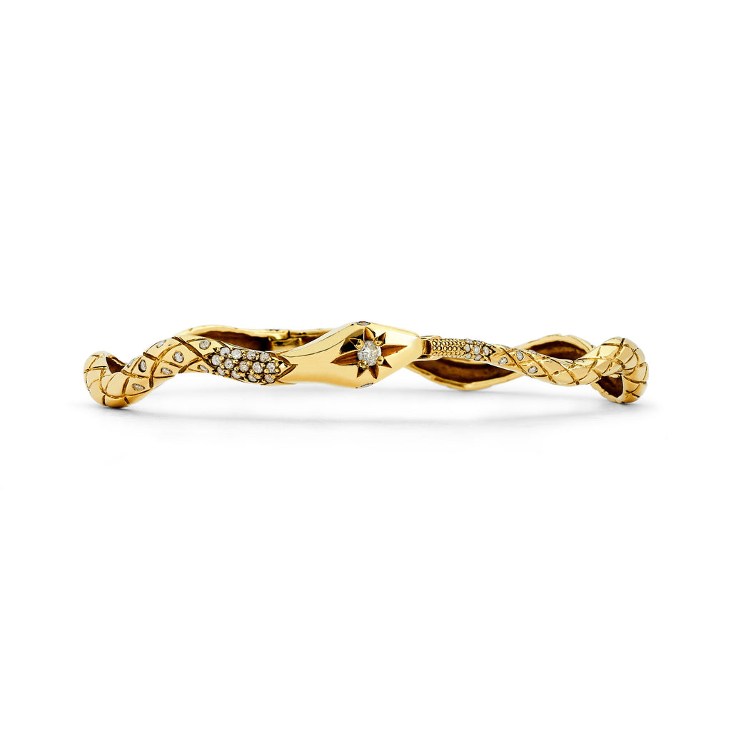 Kundalini Diamond Snake Bracelet Yellow Gold