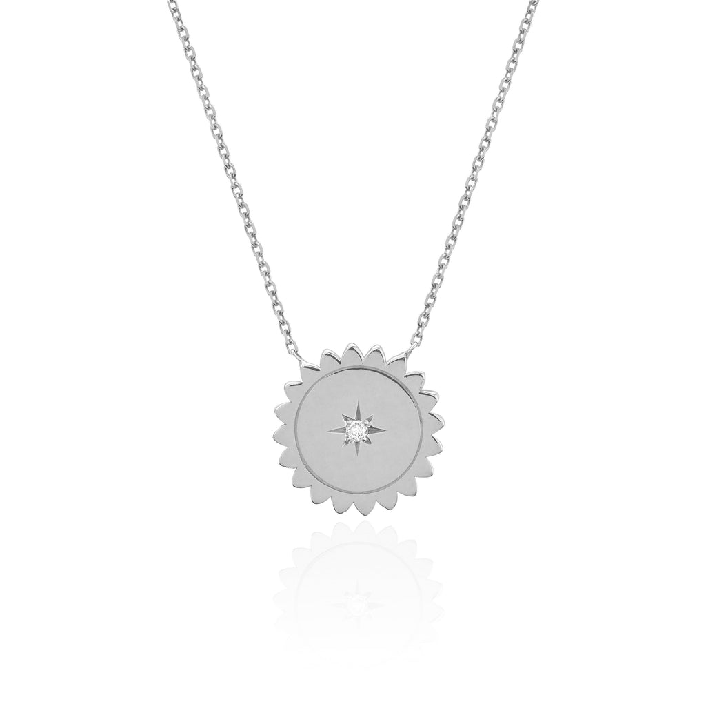 Mini Sunshine Necklace with Star Set Diamond White Gold