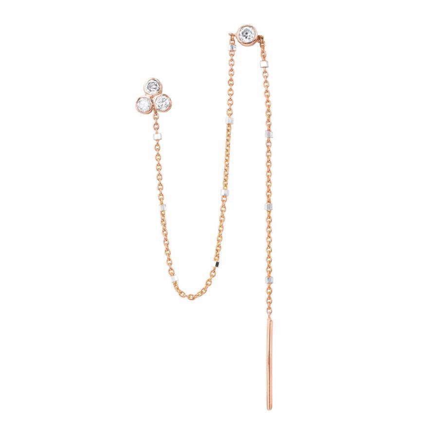 Diamond Star Shower Thread Through Earring Rose Gold
