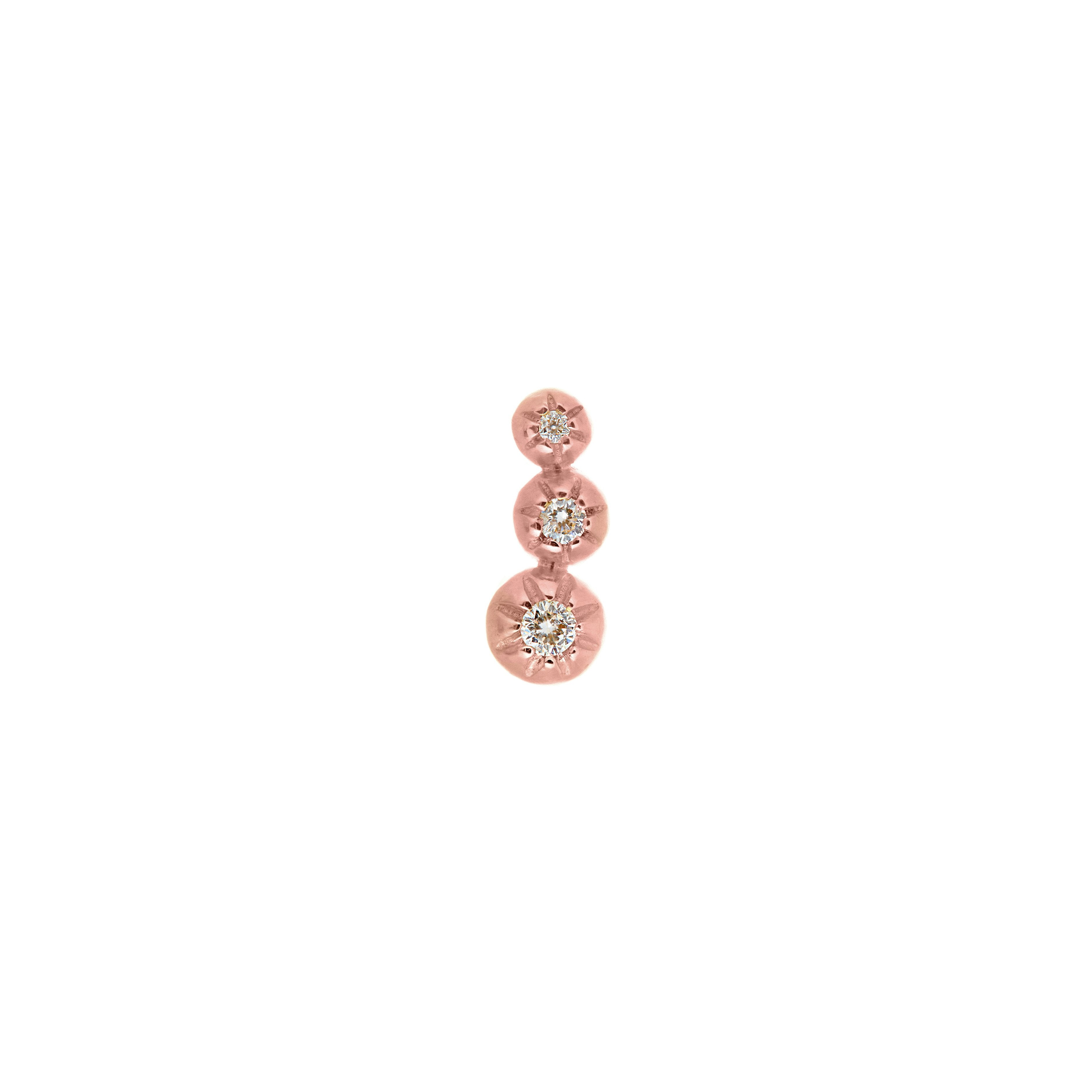 Tri Star Set Diamond Earring Studs