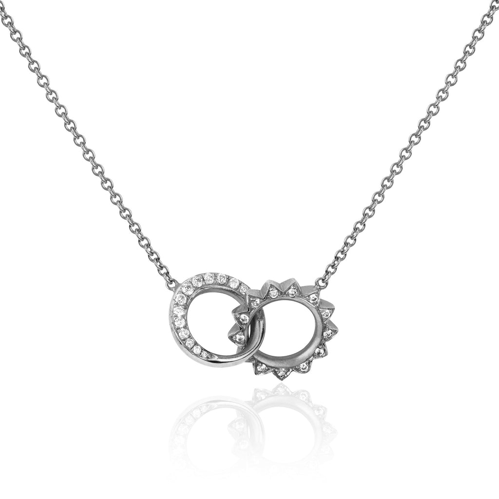 Pavé Diamond Interlocking Unity Necklace White Gold