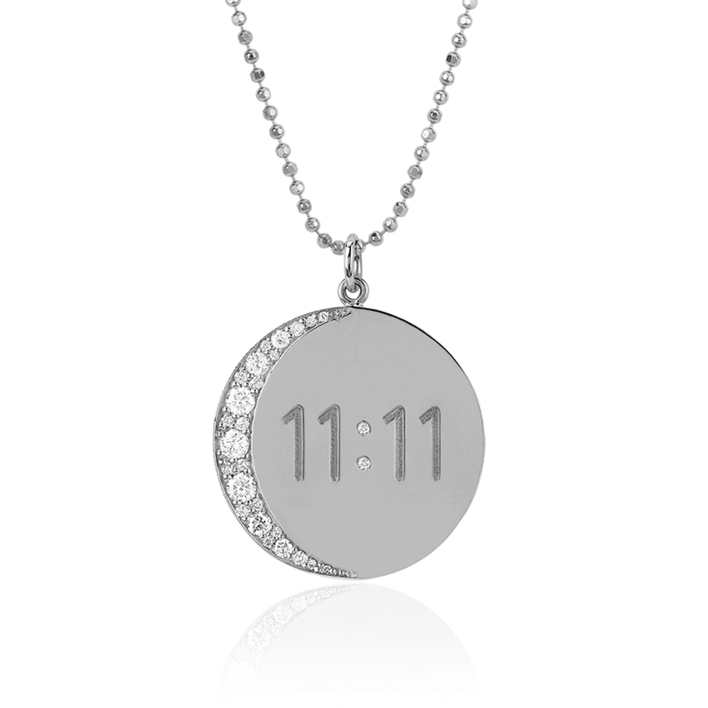 Classic 11:11 Moon Necklace White Gold