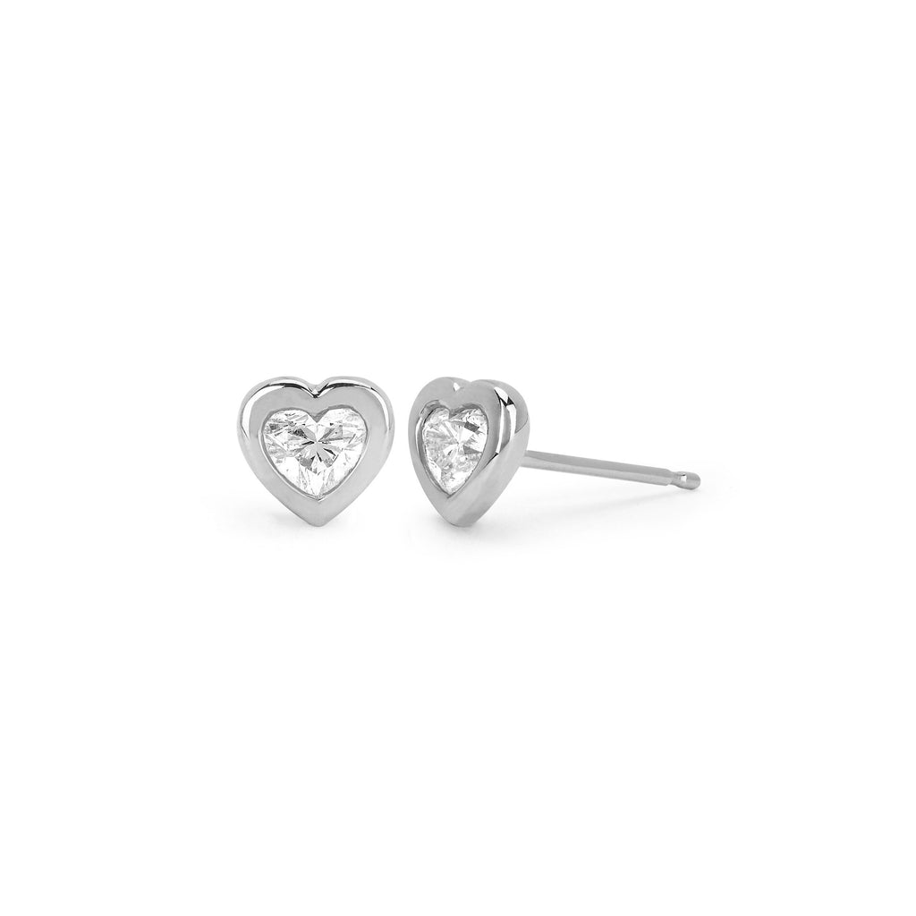Heart of Light Studs White Gold