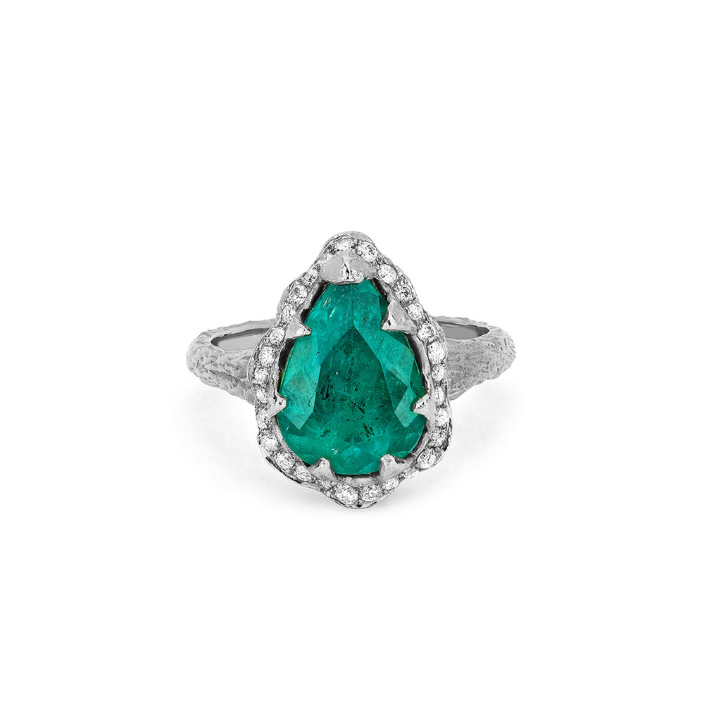 18k Premium Water Drop Colombian Emerald Queen Ring with Full Pavé Diamond Halo White Gold
