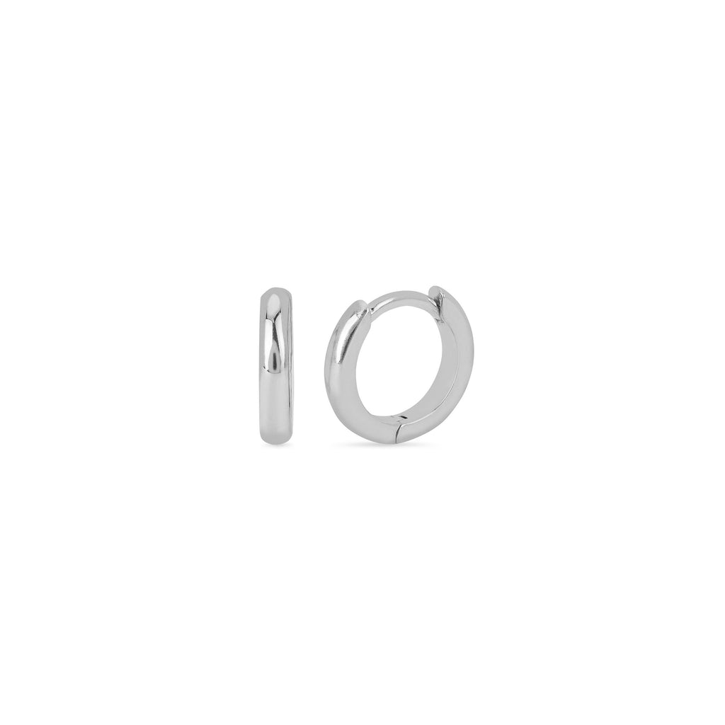 Solid Mini Goddess Hoops White Gold