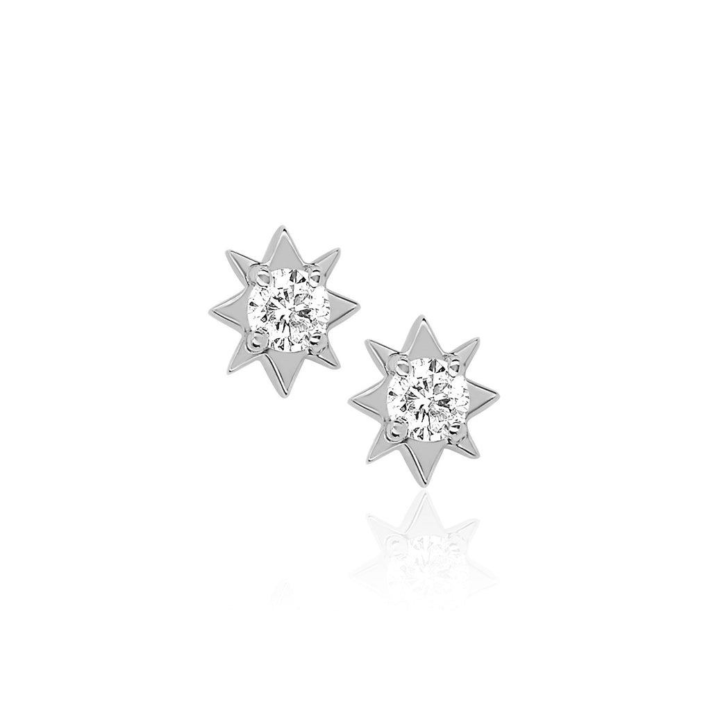 Mini North Star Diamond Studs White Gold