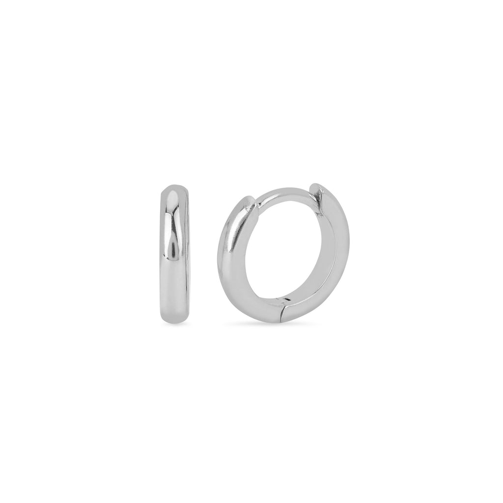 Solid Goddess Hoops White Gold