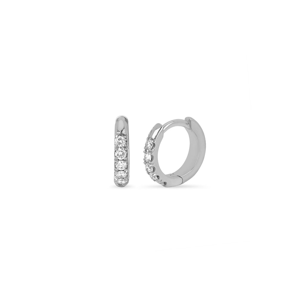 Diamond Mini Goddess Hoops White Gold