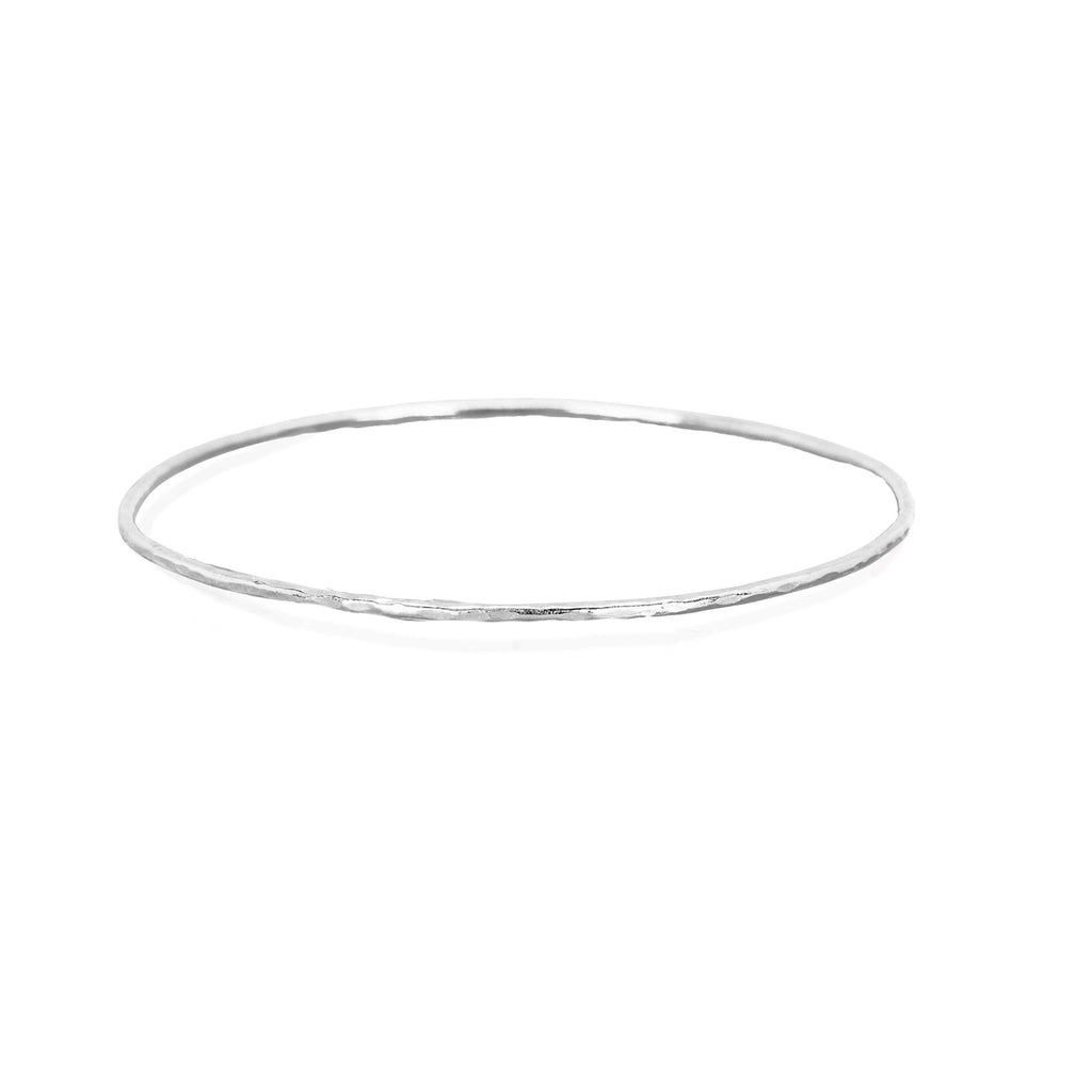 Wilderness Hammered Gold Bangle Set White Gold