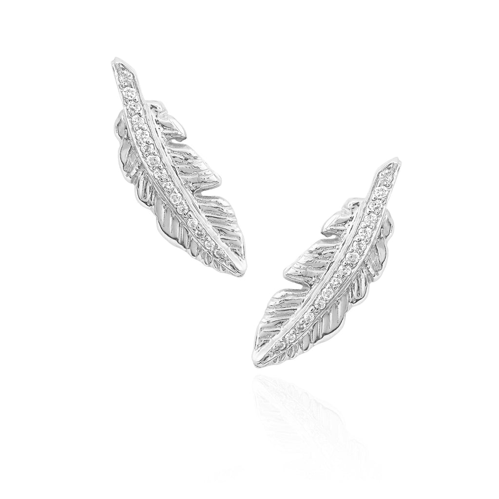 Angel Feather Earrings White Gold