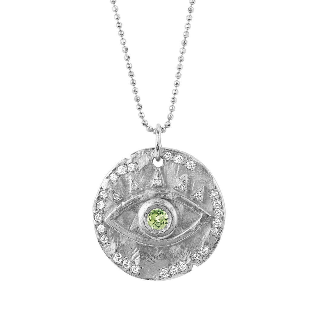 18k Peridot Eye of Protection Coin Pendant White Gold