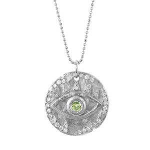 18k Peridot Eye of Protection Coin Pendant