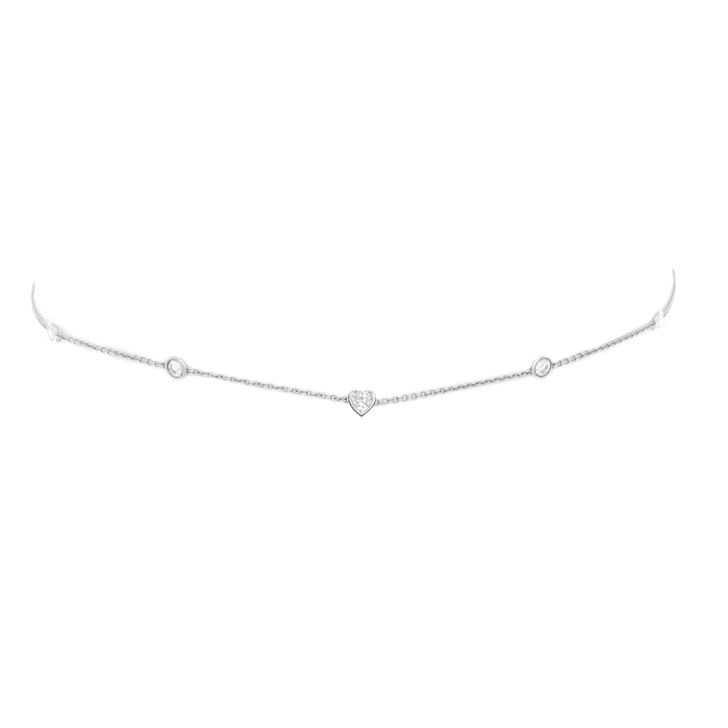 5 Diamond Heart of Light Orbit Choker with Heart Center White Gold