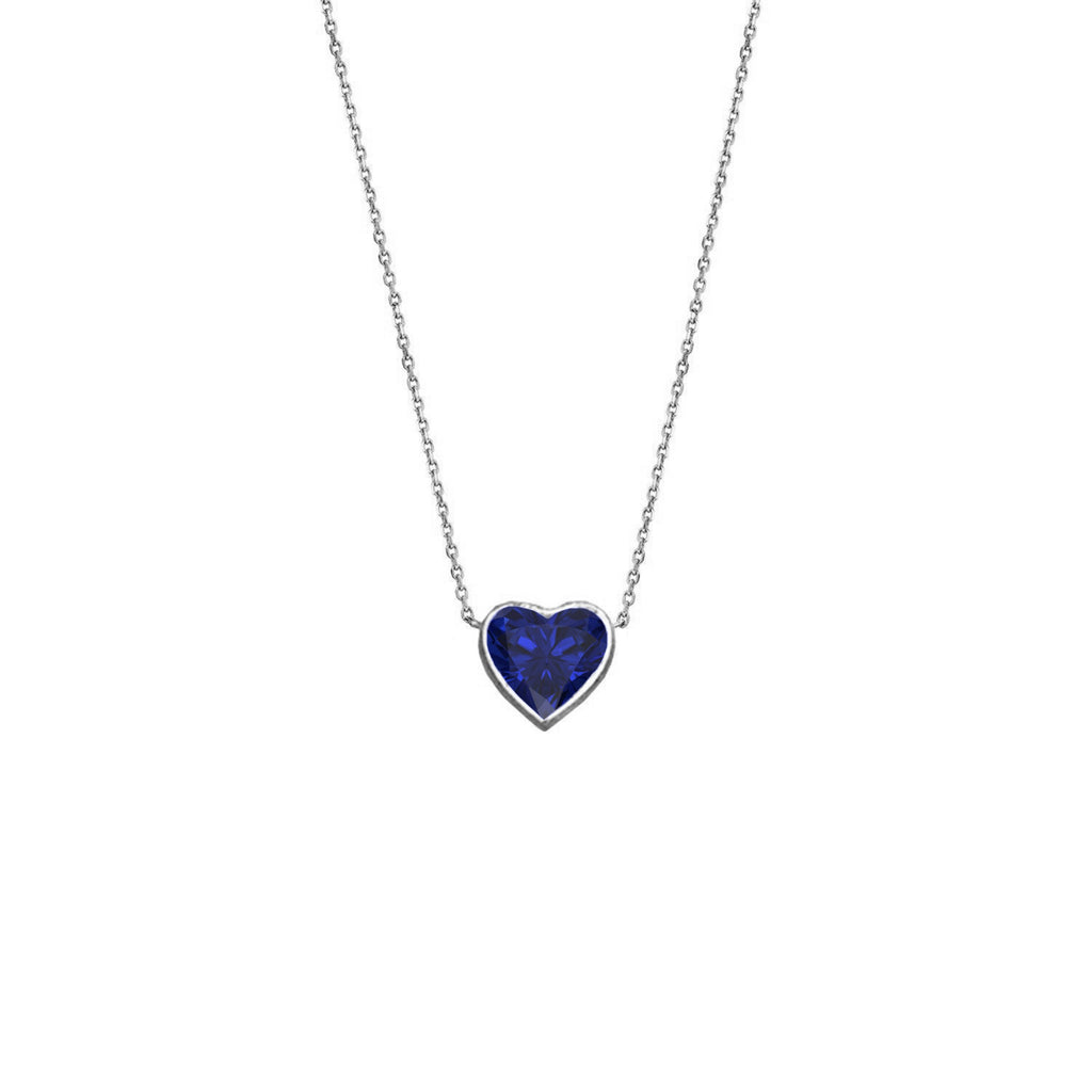 Floating Heart Shaped Sapphire Necklace White Gold