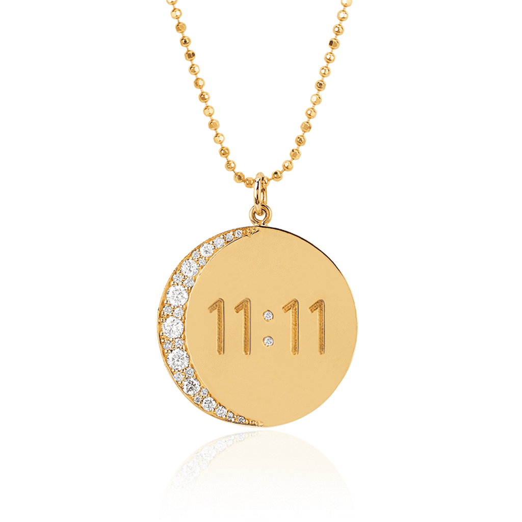 Classic 11:11 Moon Necklace Yellow Gold