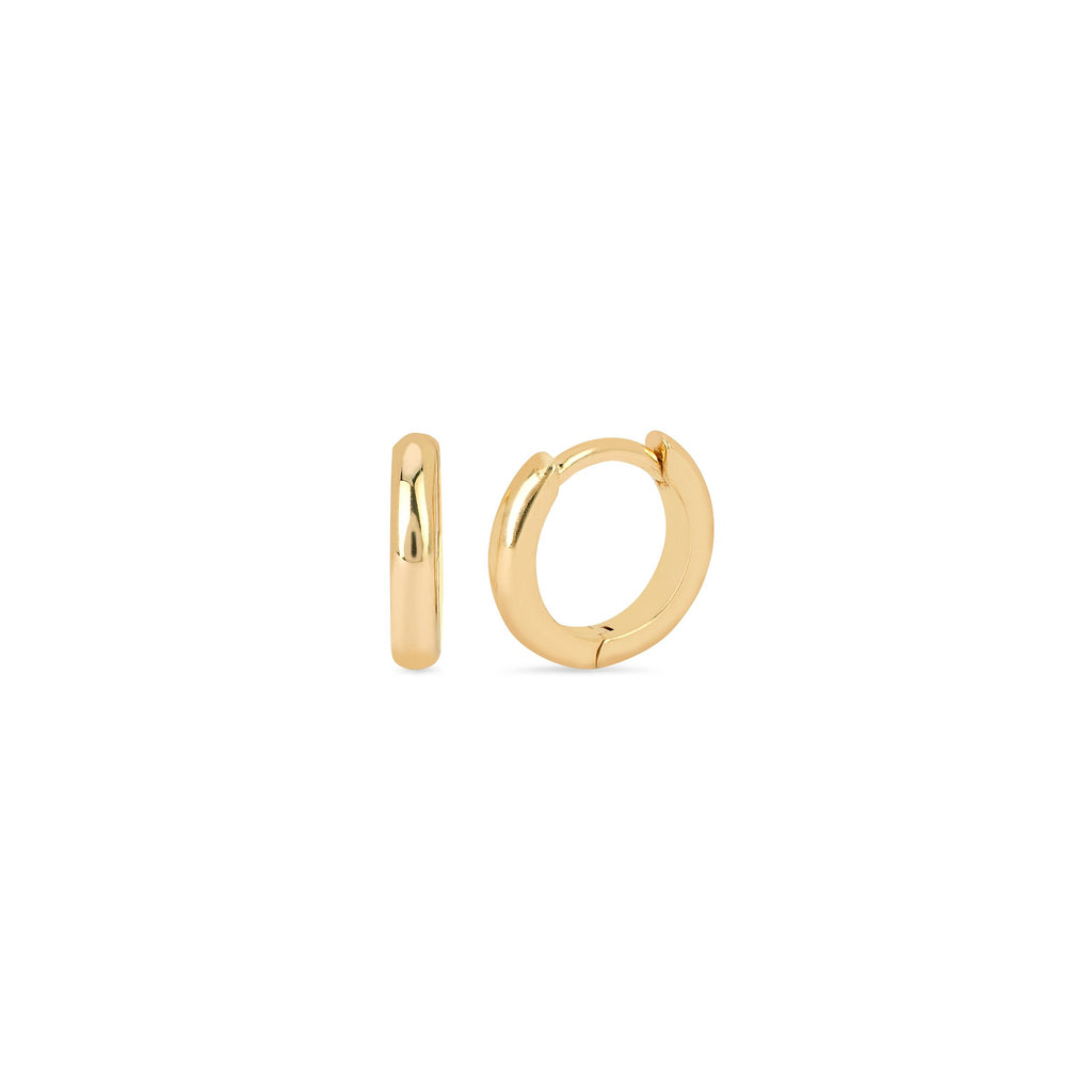 Solid Mini Goddess Hoops Yellow Gold