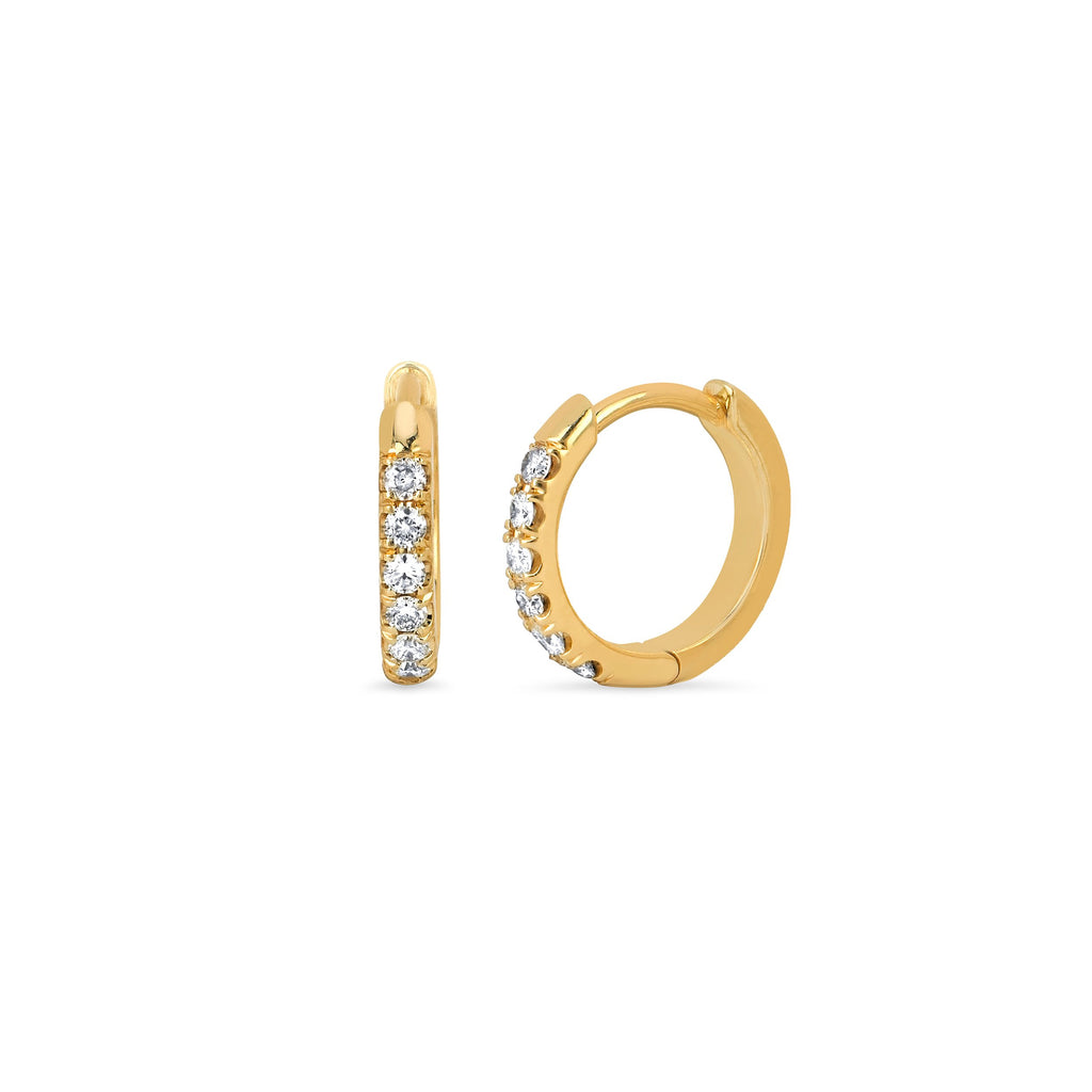 Diamond Goddess Hoops Yellow Gold