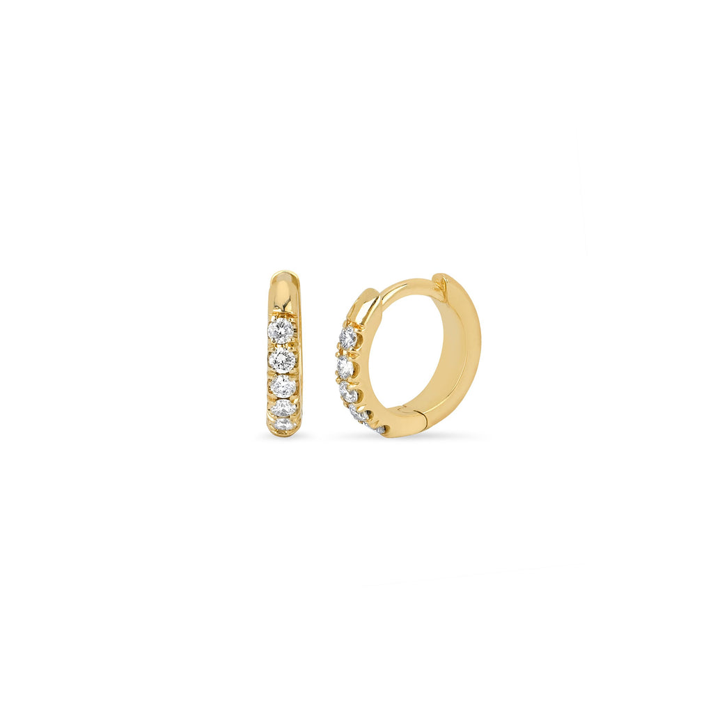 Diamond Mini Goddess Hoops Yellow Gold