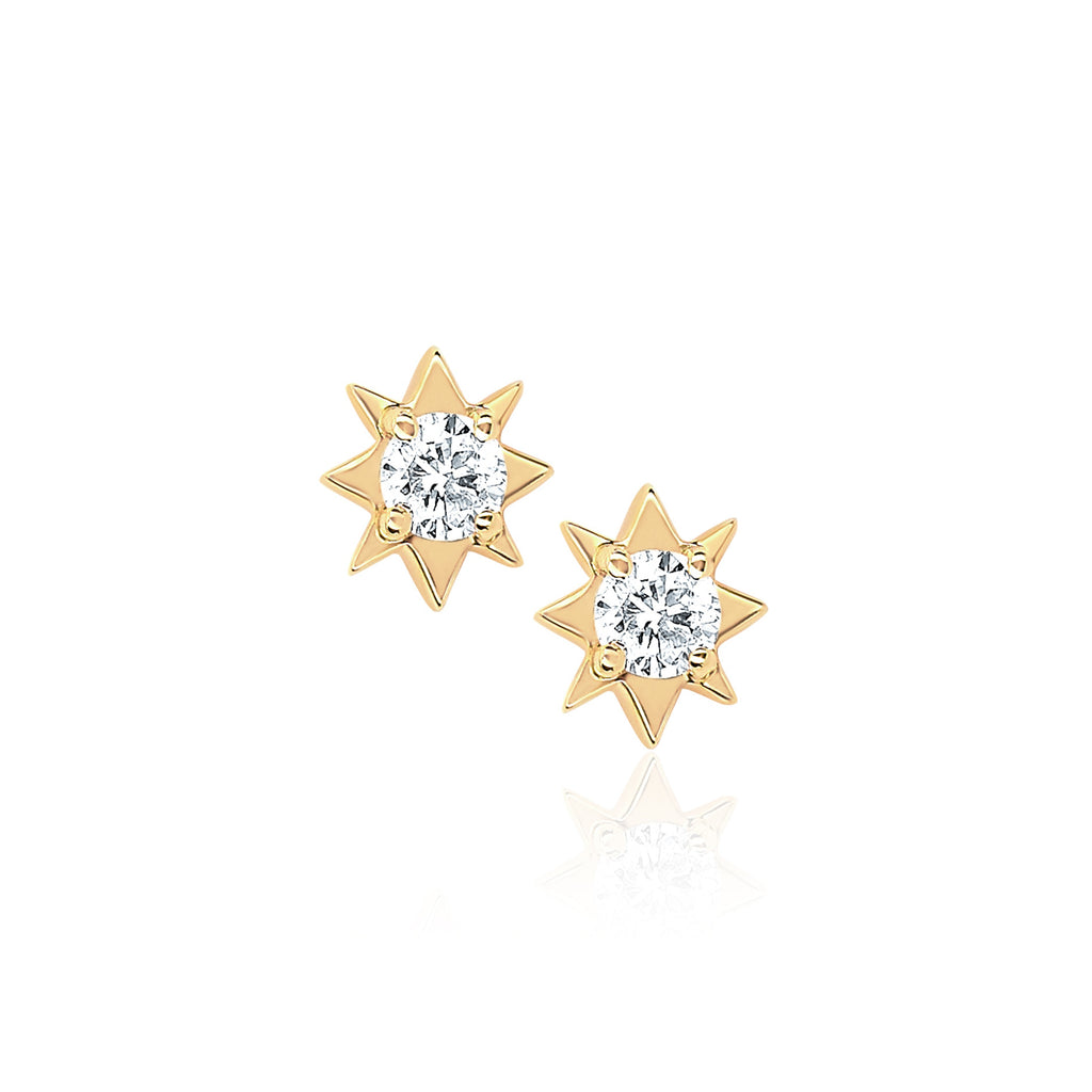 Mini North Star Diamond Studs Yellow Gold