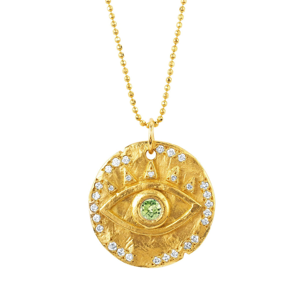 18k Peridot Eye of Protection Coin Pendant Yellow Gold