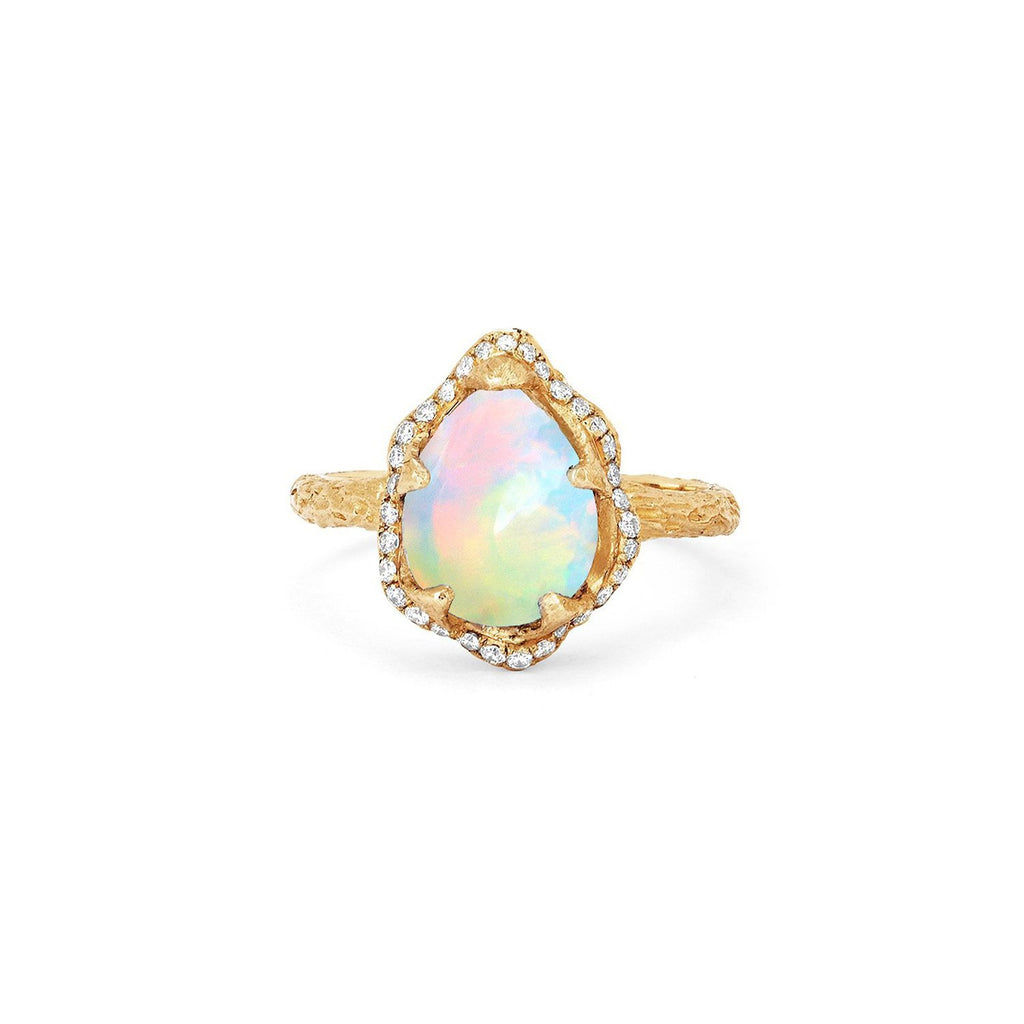 Baby Queen Water Drop White Opal Ring with Full Pavé Halo Baby Queen Water Drop White Opal Ring with Full Pavé Halo