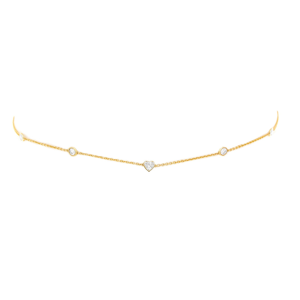 5 Diamond Heart of Light Orbit Choker with Heart Center Yellow Gold