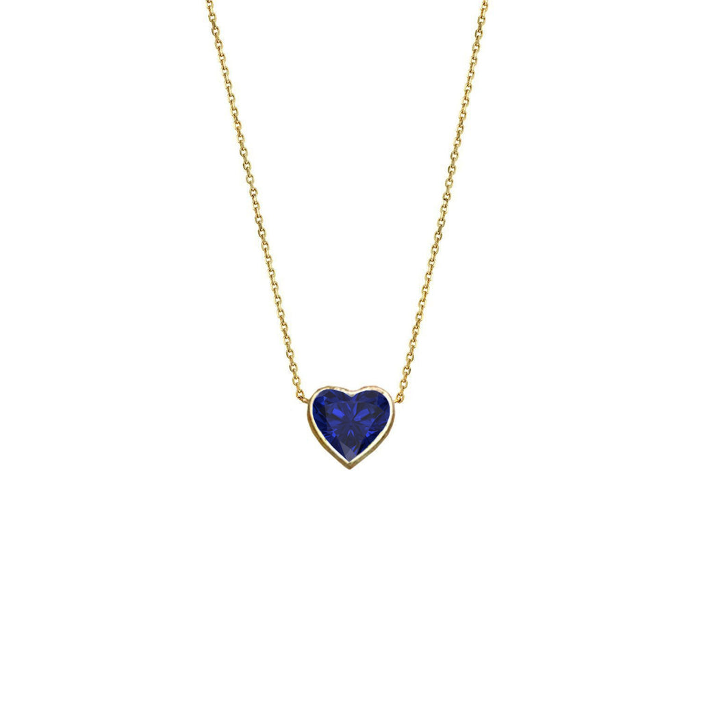 Floating Heart Shaped Sapphire Necklace Yellow Gold