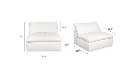 (PRE-ORDER) Movie Night Armless Chair, White Linen