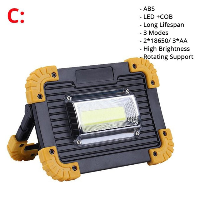100W Led Portable Spotlight 3000lm Super Bright Led Work Light Rechargeable for Outdoor Camping Lampe Led Flashlight by 18650