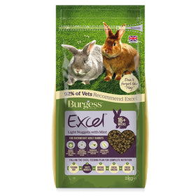 Burgess Excel Light Nuggets with Mint for Overweight Adult Rabbits 2kg