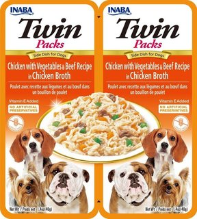 Inaba Dog Twins Packs Chicken with Vegetables & Beef in Chicken Flavored Broth