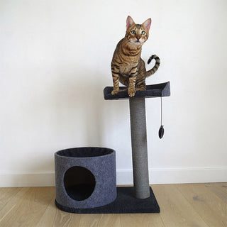 Rosewood Charcoal Felt Cat House