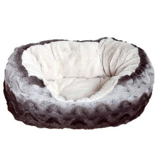 Rosewood 40 Winks Snuggle Oval Plush Dog Bed, Grey/Cream