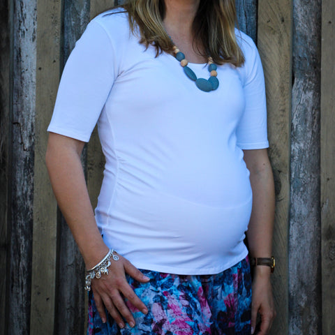 NEW Aglow Maternity basics - Cleo white ballet sleeve top
