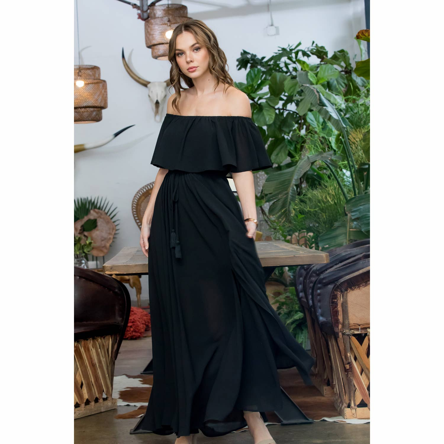 Off Shoulder Chiffon Maxi Dress
