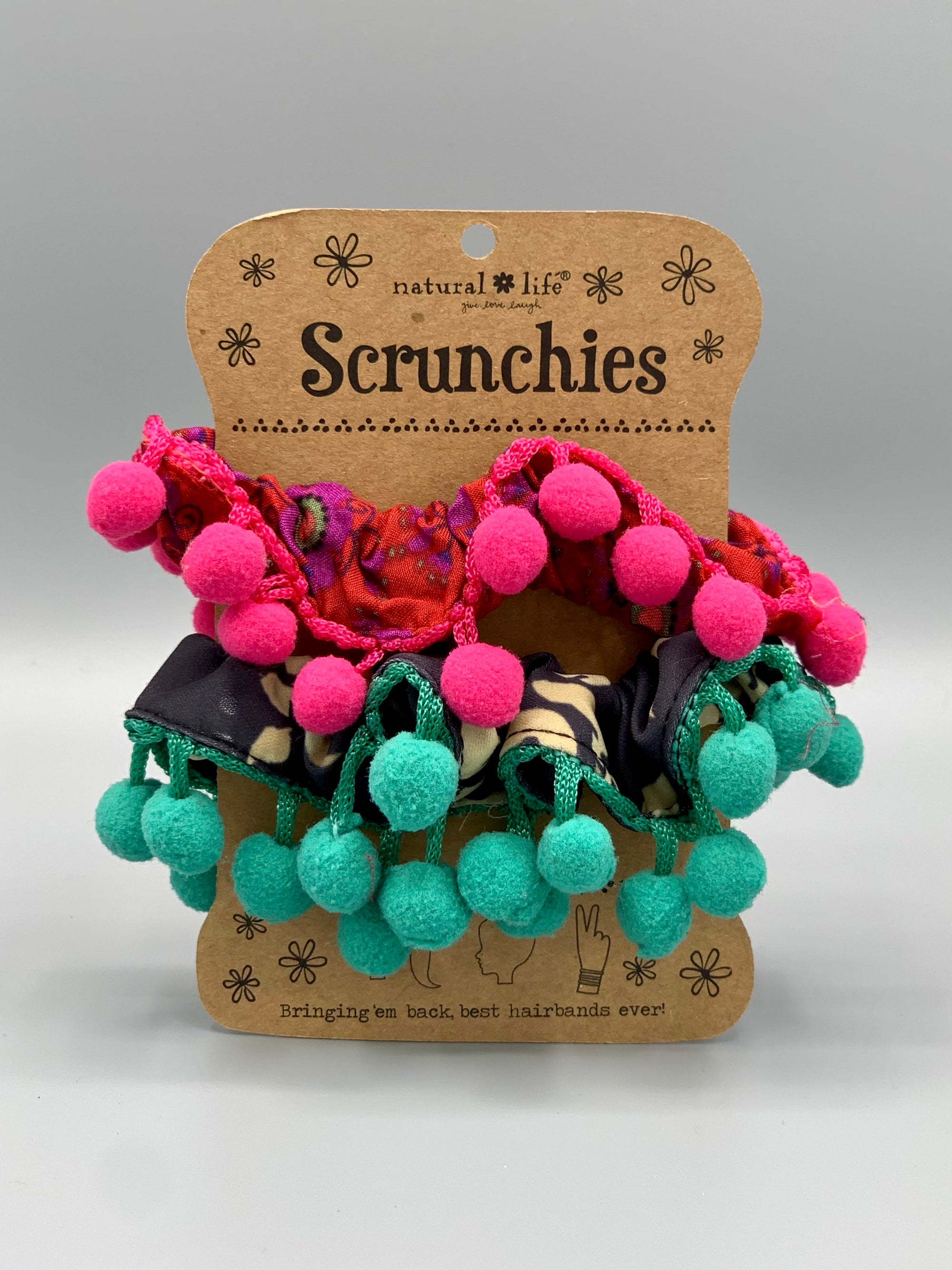Natural Life - Scrunchies with Large Pom Poms