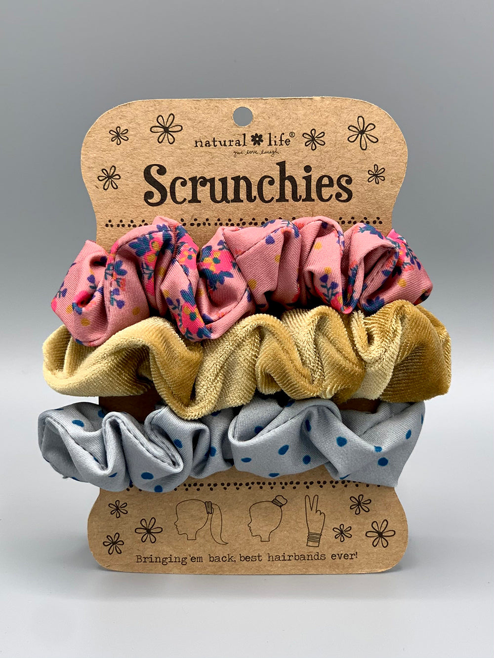 Natural Mixed Print Scrunchies