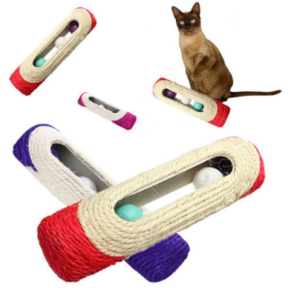 Sisal Cat Scratcher Tunnel Trapped With 3 Rolling Balls