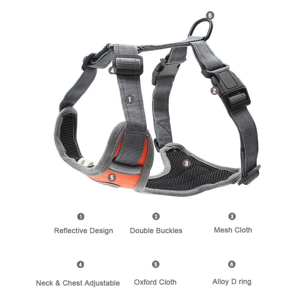 Reflective Breathable Mesh Harness For Medium & Large Dog