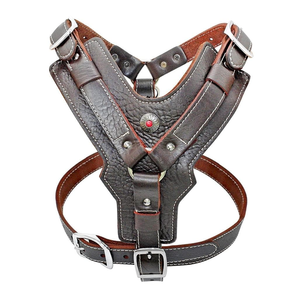 Genuine Leather Dog Harness Training Vest With Quick Control Handle