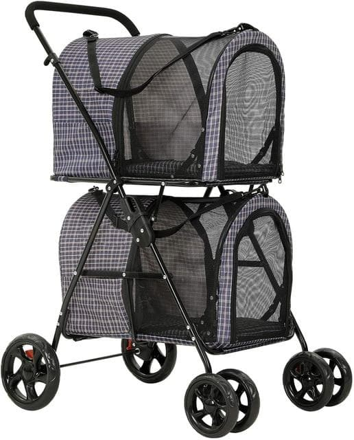 Double Pet Stroller for 2 Pets with Suspension System 360° Rotating Front Wheel
