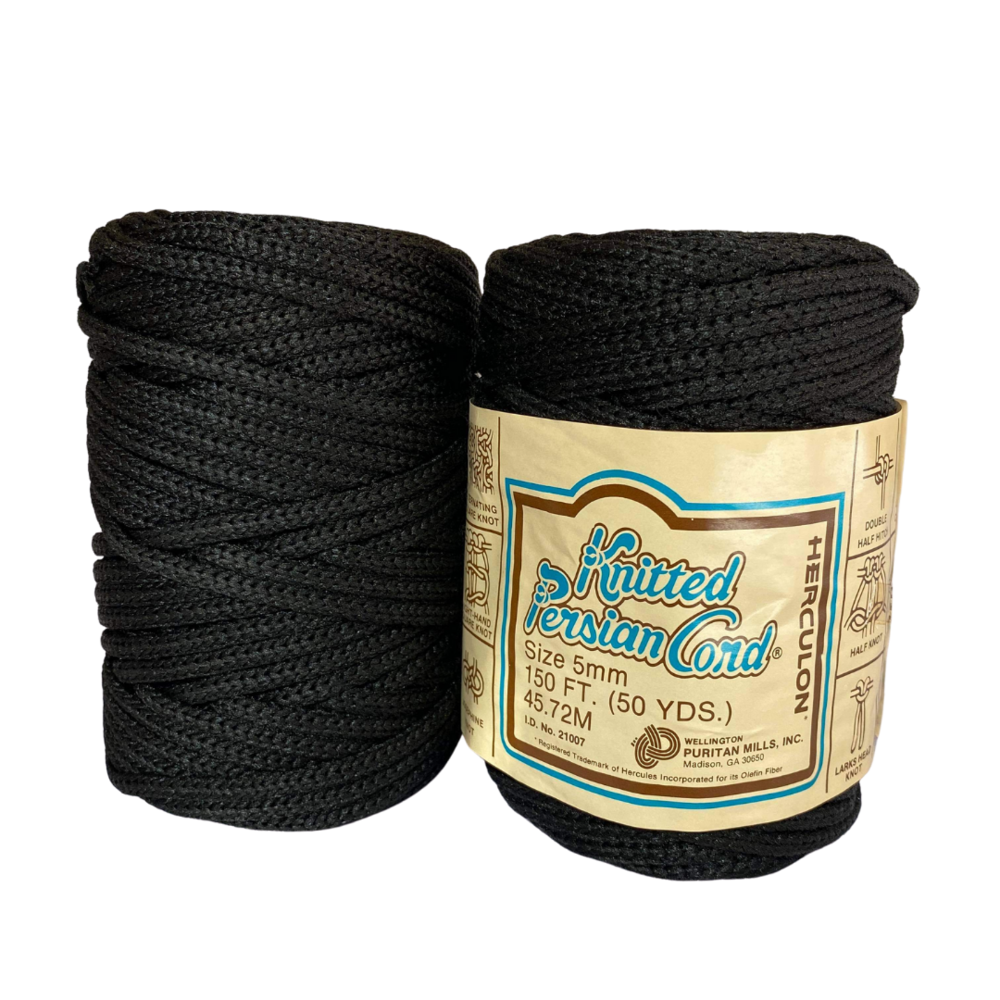 Black 5mm Vintage Synthetic Knitted Persian Cord - 150ft/50yd - Vintage
